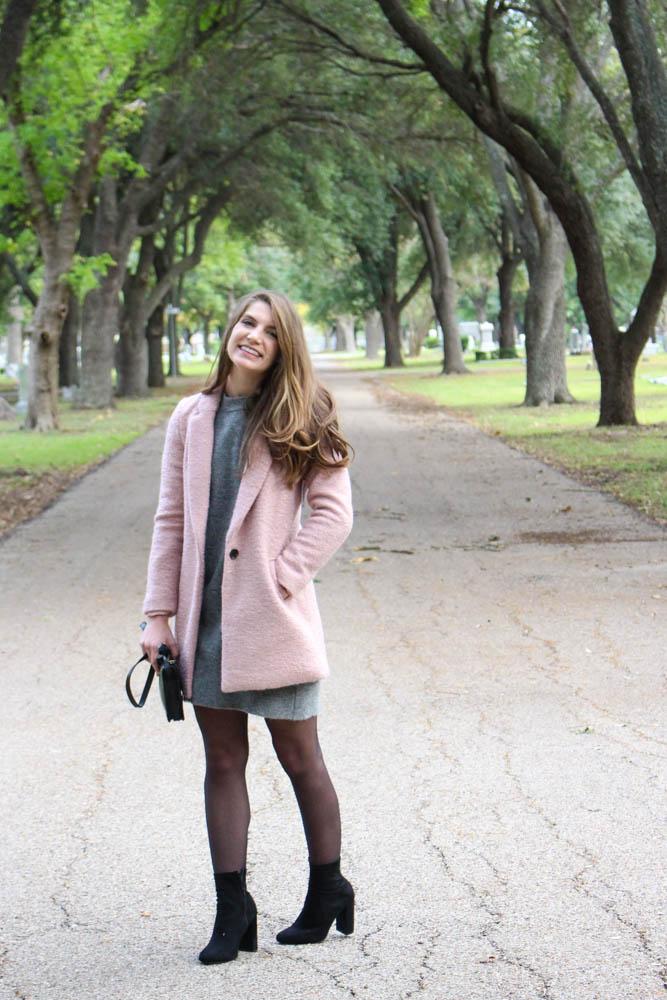 Topshop Sweater Dress, Pink Jacket, Black sock booties